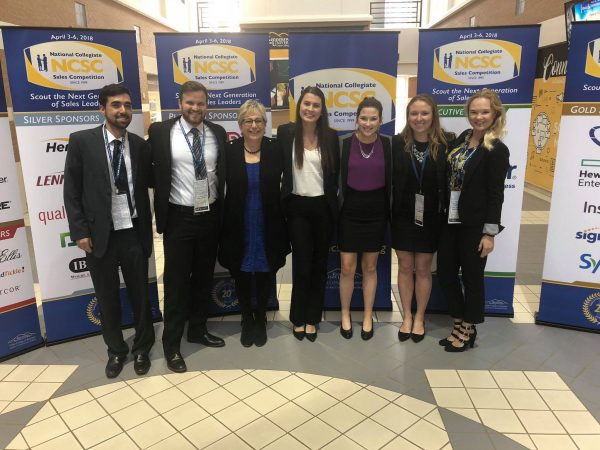 Students and Lisa Simon at Sales Competition