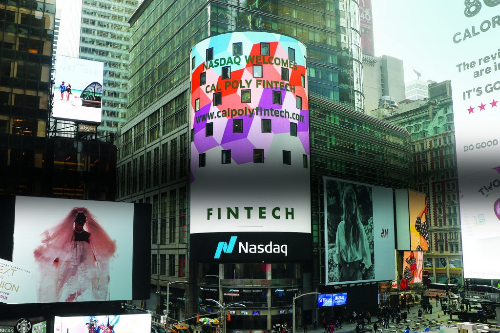 Cal Poly FinTech Club featured on Nasdaq board in Times Square