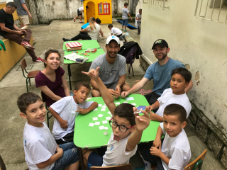 Cal Poly students playing with local kids in Brazil