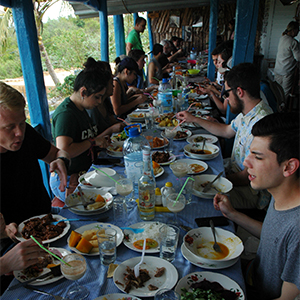 Cal Poly students dining in Cuba.