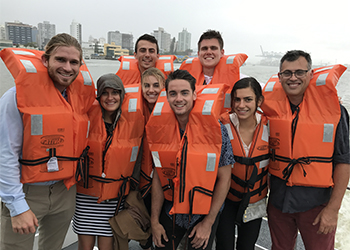 Students at a major port in Brazil