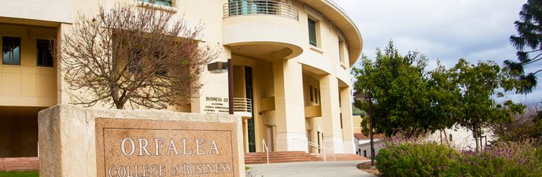 Orfalea College of Business building and sign