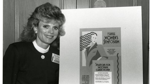 A graduate of Cal Poly Business, Barbara Kain Peterson, at the First Annual Women's Symposium for Strategies for Successful Career Women. May 1989.