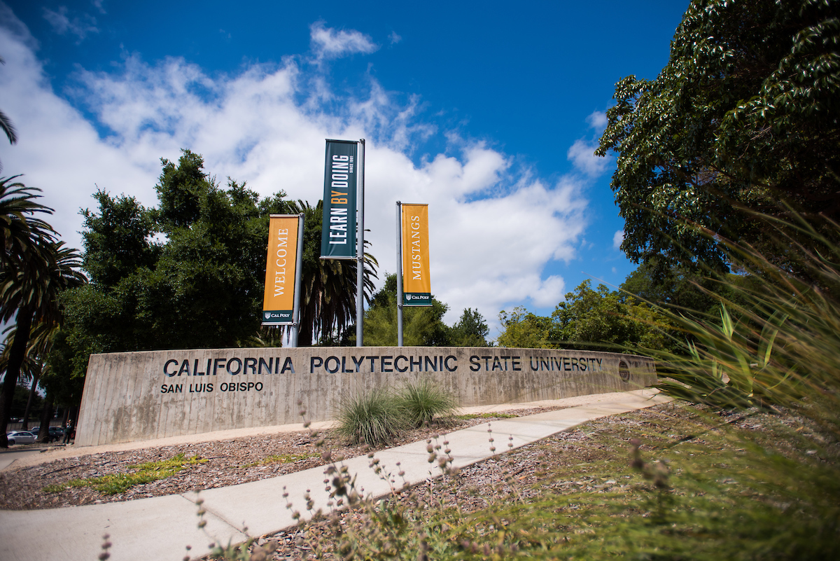 Cal Poly entrance with banners.