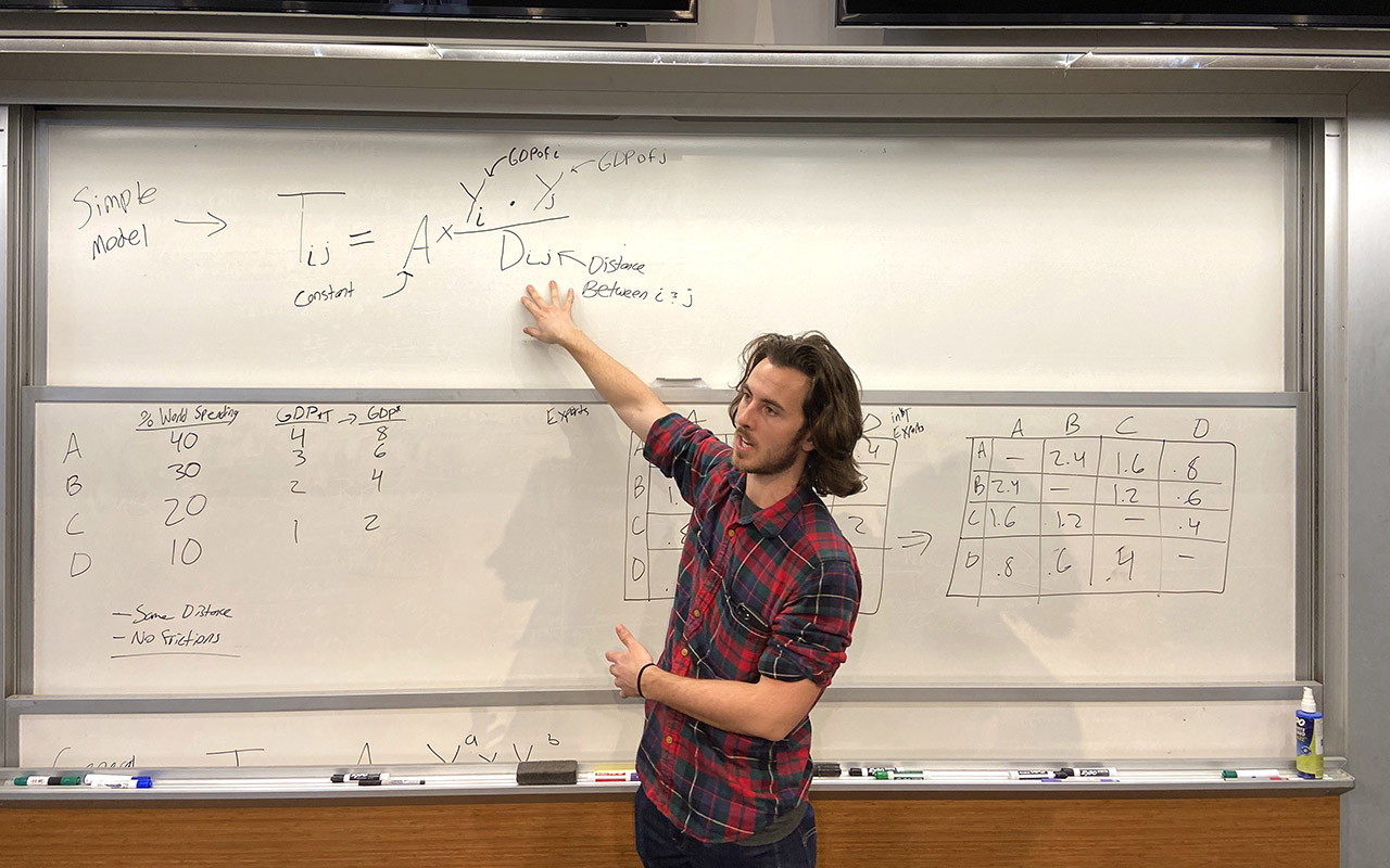 Research student Jack Keefer giving a lecture.