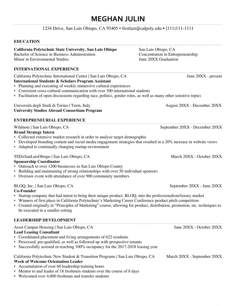 Resume Examples Templates Orfalea Student Services