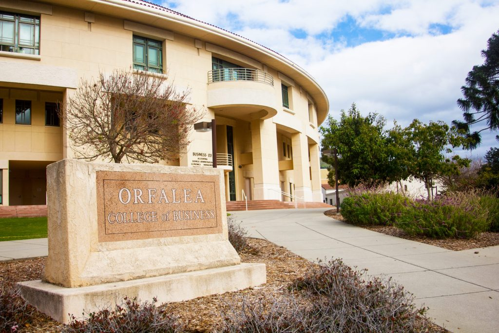 Orfalea College of Business sign and building