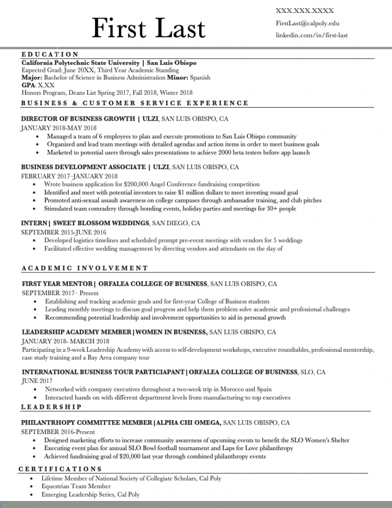Resume Examples Amp Templates Orfalea Student Services
